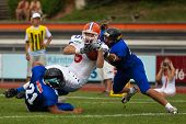 WOLFSBERG, AUSTRIA - AUGUST 22: American Football B-EC: TE Jan Dundacek (#85, Czech) and his team beat Italy 27:17 on August 22, 2009 in Wolfsberg, Austria.
