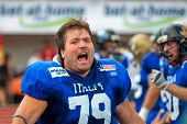 WOLFSBERG, AUSTRIA - AUGUST 22 American Football B-EC: OL Tommaso Antonetti (#79, Italy)  and his team lose 17:27 to the Czech Republic on August 22, 2009 in Wolfsberg, Austria.