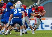WOLFSBERG, AUSTRIA - AUGUST 18: American Football B-EC: RB Andrej Kliman (#6, Austria) and his team beat Italy 34:3 on August 18, 2009 in Wolfsberg, Austria.
