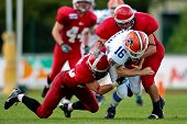 WOLFSBERG, AUSTRIA - AUGUST 18 American Football B-EC: WR Ales Danhel (#16, Czech) and his team beat