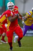 VIENNA, AUSTRIA - MARCH 28: RB Germaine Race (#3, Invaders) at Vienna Vikings beat St. Poelten Invad