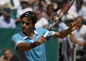 MONTE CARLO MONACO APRIL 23 Roger Federer Switzerland competing at the ATP Masters tournament in Mon