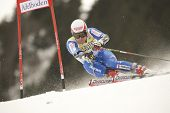 ADELBODEN SWITZERLAND JANUARY 06, Swiss ski racer Daniel Albrecht attacks a gate while Competing in