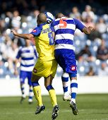LONDON, UK AUGUST 2, Gasparetto and Hall head the ball at the pre-season friendly football match bet