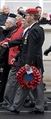 WHITEHALL, LONDON - NOV 8:A veteran from the Royal Military Police marches with his wreath made from poppies at the Royal British Legion Remembrance Parade on November 8, 2009 in Whitehall, London.