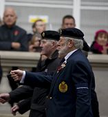 WHITEHALL, LONDON - NOV 8:  Veterans from the Royal Engineers attend the Royal British Legion Rememb