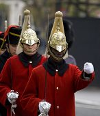 WHITEHALL, LONDON - NOV 8: Soldiers from The Life Guards at the Royal British Legion Remembrance Par