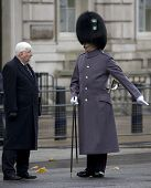 WHITEHALL, LONDON - NOV 8: The parade sergeant major instructs a city Alderman to his position at th