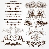 vector set: calligraphic design elements and page decoration - lots of useful elements to embellish