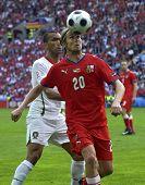 GENEVE - JUNE 11: Jaroslav Plasil n.20 of Czech Republic and Bosingwa n.4 of Portugal during the match Czech Republic-Portugal 1:3 Euro2008 GroupA June11, 2008, Stade de Geneve, Geneve, Switzerland