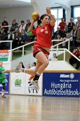NAGYATAD, HUNGARY - MARCH 8: Barbara Kopecz ready to score at Women's 17 European Handball Champions
