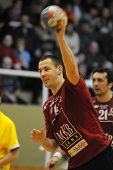 NAGYATAD, HUNGARY - FEBRUARY 5: Marko Vujin ready to make a throw at Hungarian Cup Handball match (N