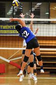KAPOSVAR, HUNGARY - SEPTEMBER 20: Keppel (12) in action at the Hungarian Extra League woman volleyba