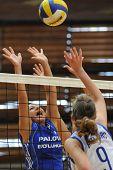 KAPOSVAR, HUNGARY - SEPTEMBER 20: Unidentified players blocks the ball at the Hungarian Extra League