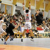 CSURGO, HUNGARY - OCTOBER 21: Gabor Olah (with the ball) in action at Hungarian National Handball Ch