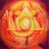 Healing Hands With Illuminated Triangle