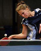 KAPOSVAR, HUNGARY - NOVEMBER 21: Orsolya Nagy in action at Hungarian National Championship table tennis game Kaposvar vs Tolna November 21, 2009 in Kaposvar.