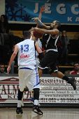 KAPOSVAR, HUNGARY - FEBRUARY 10: Rahsaan Ames (R) in action at a Hungarian National Cup basketball game between Kaposvar and Pecsi VSK February 10, 2010 in Kaposvar, Hungary.