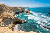 Cathedral Rock Formation, Peruvian Coastline, Rock Formations At The Coast, Paracas National Reserve poster