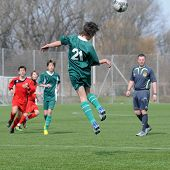 KAPOSVAR, HUNGARY - MARCH 21: Unidentified players in action at the Hungarian National Championship under 15 game between Kaposvari Rakoczi FC and Pecsi MFC March 21, 2010 in Kaposvar, Hungary.
