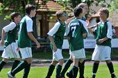 KAPOSVAR, HUNGARY - JUNE 12: Kaposvar players celebrate a goal at the Hungarian National Championshi