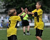 KAPOSVAR, HUNGARY - JULY 19: The Cyprian players celebrate a goal at a VI. Youth Football Festival match Efthymiades FA (CYP) vs. Academia Venezolana (VEN)- July 19, 2010 in Kaposvar, Hungary