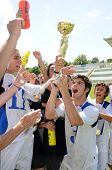 KAPOSVAR, HUNGARY - JULY 24: Brescia players celebrate the win at the V. Youth Football Festival Und
