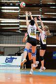 KAPOSVAR, HUNGARY - OCTOBER 10: Veszprem players block the ball at the Hungarian NB I. League woman