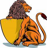 Sessão de Leão segurando um escudo