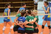 KAPOSVAR, HUNGARY - NOVEMBER 14: Miskolc players celebrate at the Hungarian NB I. League woman volle
