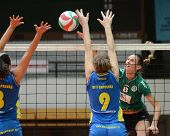 KAPOSVAR, HUNGARY - NOVEMBER 14: Rebeka Rak (9) blocks the ball at the Hungarian NB I. League woman