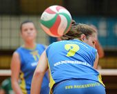 KAPOSVAR, HUNGARY - NOVEMBER 14: Rebeka Rak (9) in action at the Hungarian NB I. League woman volley