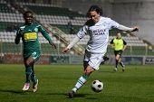 KAPOSVAR, HUNGARY - NOVEMBER 19: Lorant Olah (in white) in action at a Hungarian National Championsh