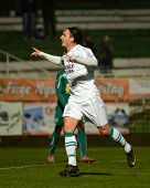 KAPOSVAR, HUNGARY - NOVEMBER 19: Lorant Olah (in white) celebrates his goal at a Hungarian National