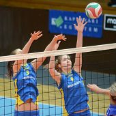 KAPOSVAR, HUNGARY - DECEMBER 19: Rebeka Rak (9) in action at the Hungarian NB I. League woman volley