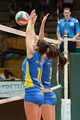 KAPOSVAR, HUNGARY - DECEMBER 19: Szandra Szombathelyi (L) in action at the Hungarian NB I. League wo