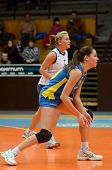 KAPOSVAR, HUNGARY - DECEMBER 19: Szandra Szombathelyi (in blue) in action at the Hungarian NB I. Lea