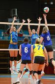 KAPOSVAR, HUNGARY - DECEMBER 19: Barbara Balajcza (L) blocks the ball at the Hungarian NB I. League