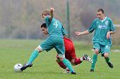 KAPOSVAR, HUNGARY - OCTOBER 16: Krisztian Mikola (L) in action at the Hungarian National Championshi