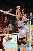 KAPOSVAR, HUNGARY - JANUARY 17: Krisztian Csoma (R) blocks the ball at a Hungarian volleyball Nation