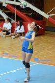 KAPOSVAR, HUNGARY - FEBRUARY 13: Rebeka Rak serves the ball at the Hungarian NB I. League woman's vo