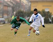 KAPOSVAR, HUNGARY - MARCH 5: Attila Zsebe (L) in action at the Hungarian National Championship under