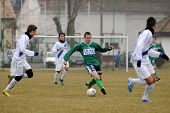 KAPOSVAR, HUNGARY - MARCH 5: Attila Kovacs (in green) in action at the Hungarian National Championsh