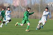 KAPOSVAR, HUNGARY - MARCH 9: Attila Berki (C) in action at the Hungarian National Championship under