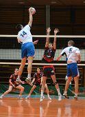 KAPOSVAR, HUNGARY - MARCH 6: Krisztian Csoma (C) blocks the ball at a Hungarian National Championshi