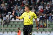 KAPOSVAR, HUNGARY - APRIL 16: Sandor Ando-Szabo (referee) in action at a Hungarian National Champion