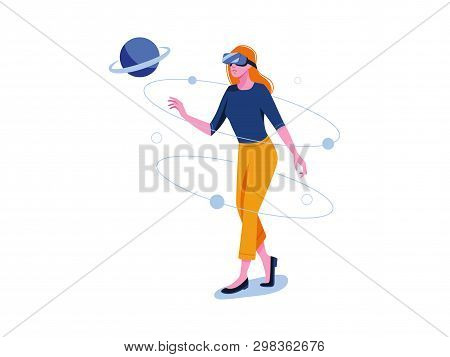 poster of Virtual Reality. Vr Gaming, Video Gaming, Online Games. Woman Is Standing In Vr Glasses. Flat Vector