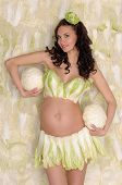 pregnant woman in lingerie from lettuce
