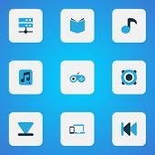 Music Icons Colored Set With Previous, Musical Note, Multimedia And Other Gamepad Elements. Isolated poster