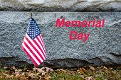 American Flag Placed In Remembrance At Memorial.  Memorial Day Text With American Flag. National Usa poster